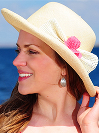 Panama Hat for Women - Natural Decorated